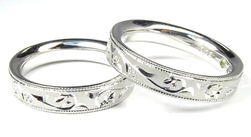 画像1: 手造り(ハンドメイド)・ツタの柄入りオーダーメイド結婚指輪(マリッジリング)Pt900(プラチナ)・ペアリング(指輪)