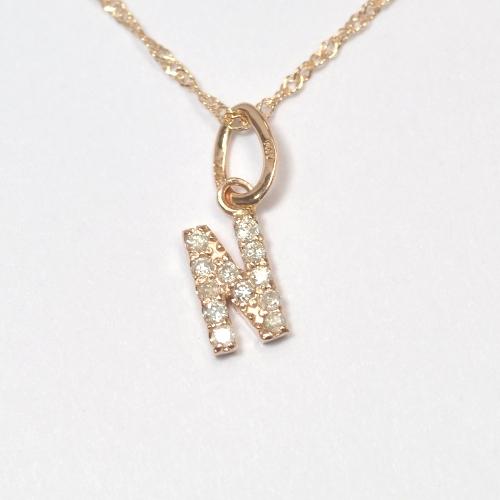 画像1: 大人気の天然石ダイヤモンド・イニシャル【N】・K10PG(ピンクゴールド)・ペンダント・ネックレス