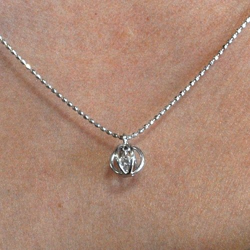 画像1: 天然石ダイヤモンド付きスウィングデザイン・ペンダント・K18WG (ホワイトゴールド)売約済