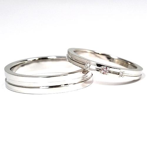 画像1: 女性用に天然石ピンクダイヤ付・手造り(ハンドメイド)・シンプルで付け心地が良いオーダーメイド結婚指輪(マリッジリング)・Pt900(プラチナ)・ペアリング(指輪)