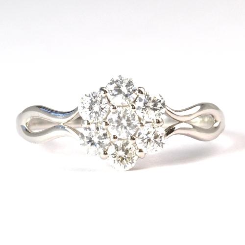 画像1: NEW☆可愛いフラワーモチーフのファッションリング!天然石ダイヤ・Pt900(プラチナ)・リング(指輪)売約済