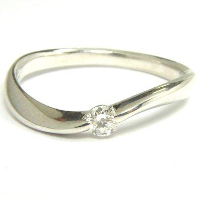 画像1: NEW☆シンプルでオシャレな天然石ダイヤ付ファッションリング!ダイヤ(0.10ct)・Pt900(プラチナ)・リング(指輪)売約済