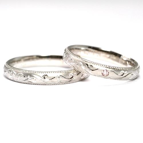 画像1: 女性用に天然石ピンクダイヤ付・手造り(ハンドメイド)・鳥モチーフの個性的なオーダーメイド結婚指輪(マリッジリング)・Pt900(プラチナ)・ペアリング(指輪)