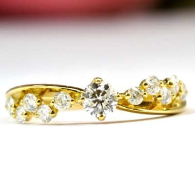 画像1: NEW☆輝きの美しいダイヤが入ったリング!!天然石ダイヤ・K18(ゴールド)・リング(指輪)