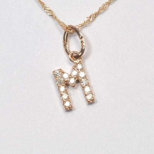 画像1: 大人気の天然石ダイヤモンド・イニシャル【M】・K10PG(ピンクゴールド)・ペンダント・ネックレス