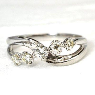 画像1: NEWデザイン!ダイヤデザイン・K18WG(ホワイトゴールド)・リング(指輪)