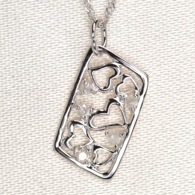 画像1: 天然石ダイヤモンド付きハート・デザイン・ペンダント・K18WG(ホワイトゴールド)